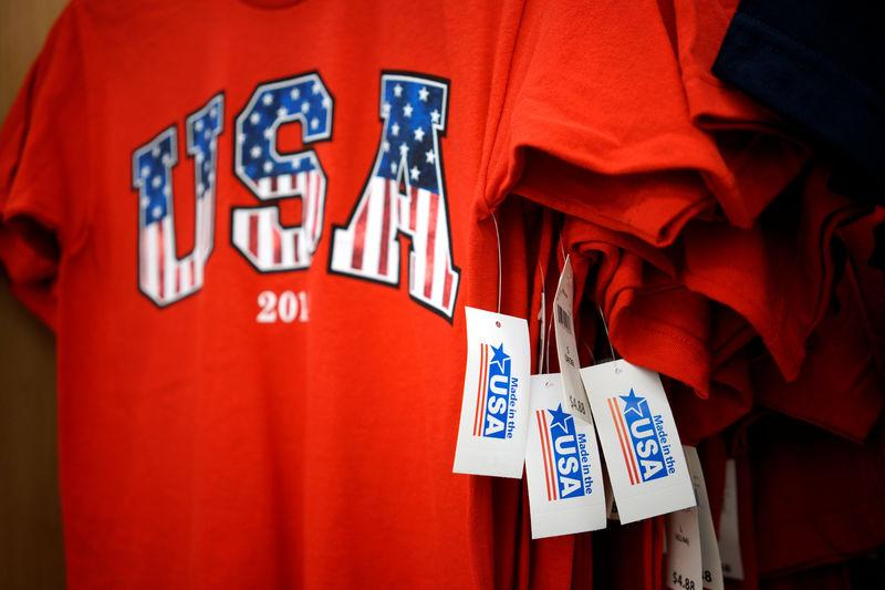 File Photo: T-shirts made in the USA are for sale at the Walmart Supercenter in Bentonville