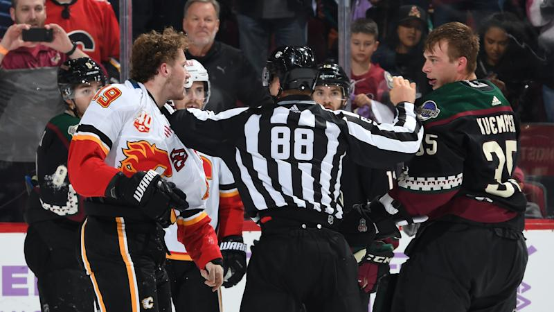 Arizona Coyotes goaltender Darcy Kuemper submitted a game to remember after getting into a fight with Calgary Flames forward Matthew Tkachuk. (Norm Hall/NHLI via Getty Images)
