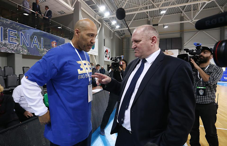 LaVar Ball and BC Prienai coach Virginijus Seskus have a discussion during a game in Lithuania last season. (Getty Images)