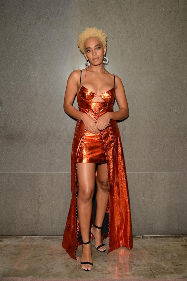 <p>Solo can do no wrong in our beauty book. She shone at the Surface Travel Awards with her newly blond hair and dressed in a fresh-off the runway Helmut Lang dress by Shayne Oliver, Christian Louboutin heels, and earrings by Laruicci. (Photo: Getty Images) </p>