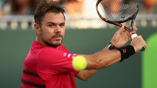 Roger Federer and Rafael Nadal advanced at the Miami Open, but Stan Wawrinka was beaten on his birthday.