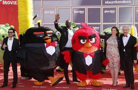"Actors Rodriguez and Sy, tv host Abirached and actor Capatonda pose during a photocall for the animated film ""The Angry Birds Movie"" on the eve of the start of the 69th Cannes Film Festival in Cannes"