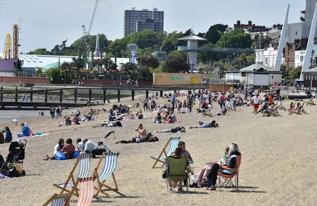 People flocked to Southend beach to enjoy the hottest day of the year so far. (Getty Images)