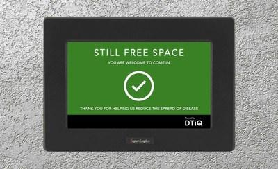 DTiQ's occupancy management solution virtually calculates occupancy rate within a location, alerts employees and customers entering through a digital display.