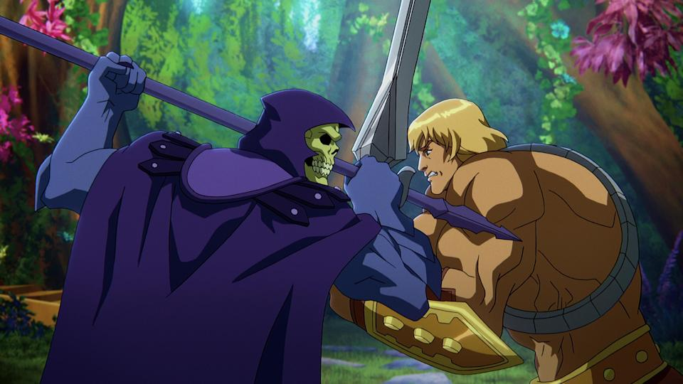 """Skeletor (Mark Hamill) and He-Man (Chris Wood) in """"Masters of the Universe: Revelation."""" - Credit: Courtesy of Netflix"""