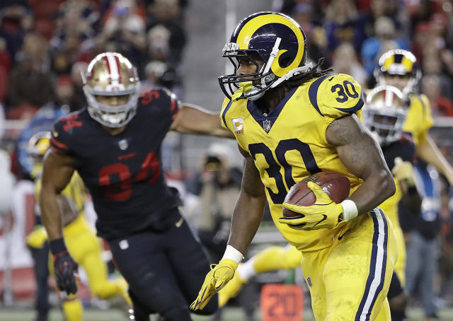 Los Angeles Rams running back Todd Gurley (30) runs against the San Francisco 49ers during the second half of an NFL football game in Santa Clara, Calif., Thursday, Sept. 21, 2017. (AP Photo/Marcio Jose Sanchez)