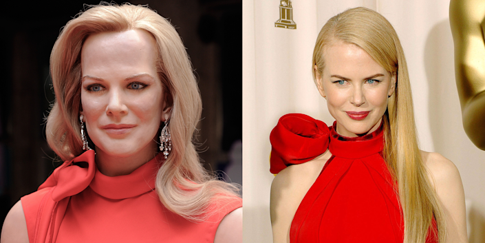 """<p>The real Nicole Kidman has always had a kind of statuesque, porcelain doll thing going on, but this horror show takes it to a new level. Its forehead is about twice the size of her (already large!) forehead, and its eyes say, """"I bet your spleen tastes delicious."""" </p>"""