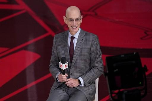 NBA Commissioner Adam Silver does an interview before Game 3 of basketball's NBA Finals, Sunday, Oct. 4, 2020, in Lake Buena Vista, Fla. (AP Photo/Mark J. Terrill)