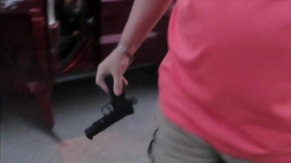 The gun Fucheck was holding turned out to be a BB gun.