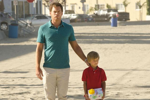 "Michael C. Hall as Dexter Morgan and Jadon Wells as Harrison in the ""Dexter"" Season 8 episode, ""A Little Reflection."""