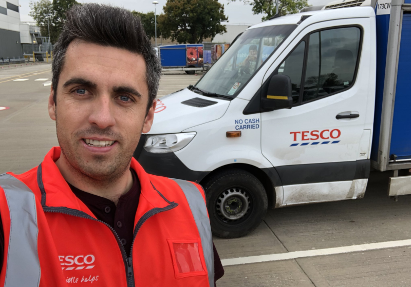 Login now drives a Tesco delivery van to deliver food to homes as Tesco beefs up its home delivery services. (Peter Login/ Twitter)