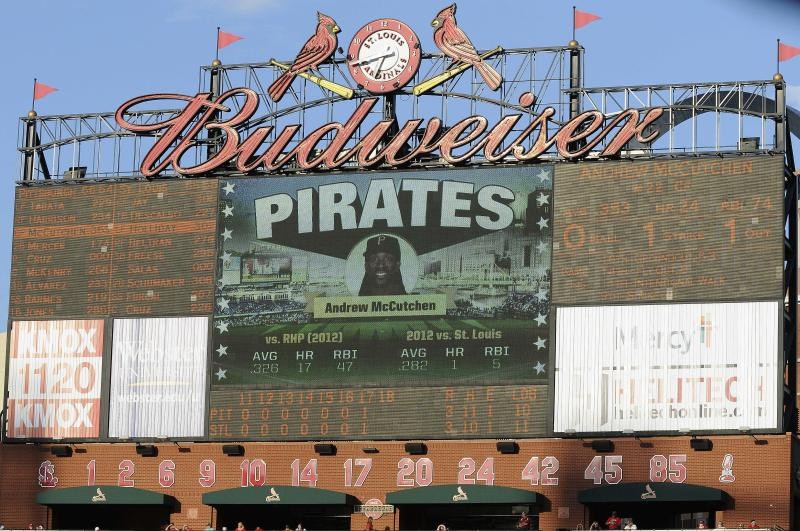 The St. Louis Cardinals and the Pittsburgh Pirates play into the seventeenth inning of a baseball game on Sunday, Aug. 19, 2012, in St. Louis. (AP Photo/Jeff Curry)