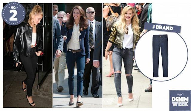 From left: Hailey Baldwin, Kate Middleton, and Hilary Duff wearing J Brand out and about. (Photo, left to right: AKM-GSI, Getty, Getty, J Brand)