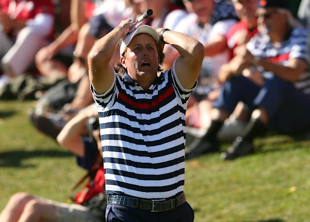 MEDINAH, IL - SEPTEMBER 30: Phil Mickelson of the USA reacts to a shot on the 17th hole during the Singles Matches for The 39th Ryder Cup at Medinah Country Club on September 30, 2012 in Medinah, Illinois. (Photo by Mike Ehrmann/Getty Images)