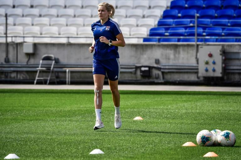 Ada Hegerberg has been included in the Lyon squad for Tuesday's trip to Sweden (AFP/JEFF PACHOUD)