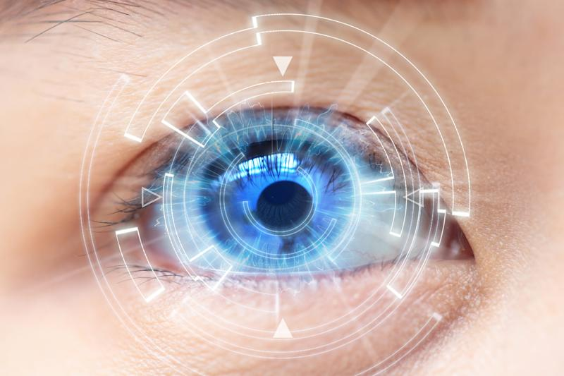 Closeup of eye with computer-generated image in front of the eye