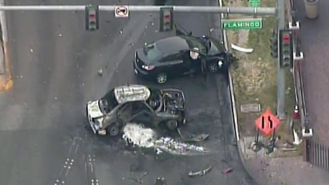 <p>The Las Vegas Strip became a scene of deadly violence early Thursday when someone in a black Range Rover opened fire on a Maserati, sending it crashing into a taxi that burst into flames, leaving three people dead and at least six injured.</p>