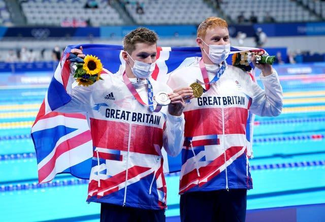 Tom Dean, right, and Duncan Scott had a historic one-two finish in the men's 200m freestyle on Tuesday (Adam Davy/PA)