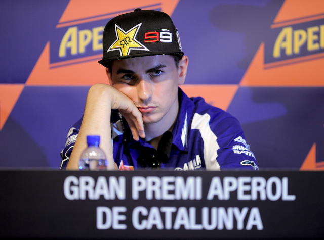Yamaha Factory Racing's Spanish Jorge Lorenzo attends a press conference at the Catalunya racetrack in Montmelo, near Barcelona, on May 31, 2012, on eve of the Catalunya Moto GP Grand Prix training sessions. AFP PHOTO / JOSEP LAGOJOSEP LAGO/AFP/GettyImages