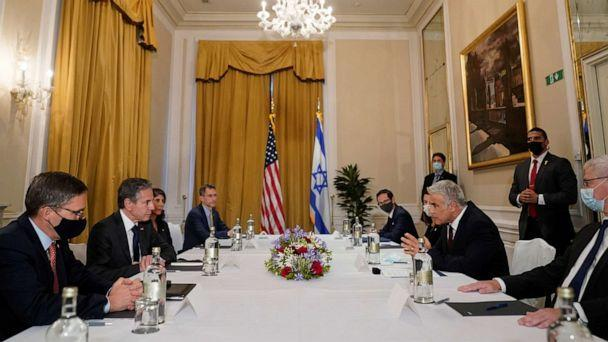 PHOTO: Secretary of State Antony Blinken meets with Israeli Foreign Minister Yair Lapid in Rome, Italy, June 27, 2021. (Andrew Harnik/Reuters)
