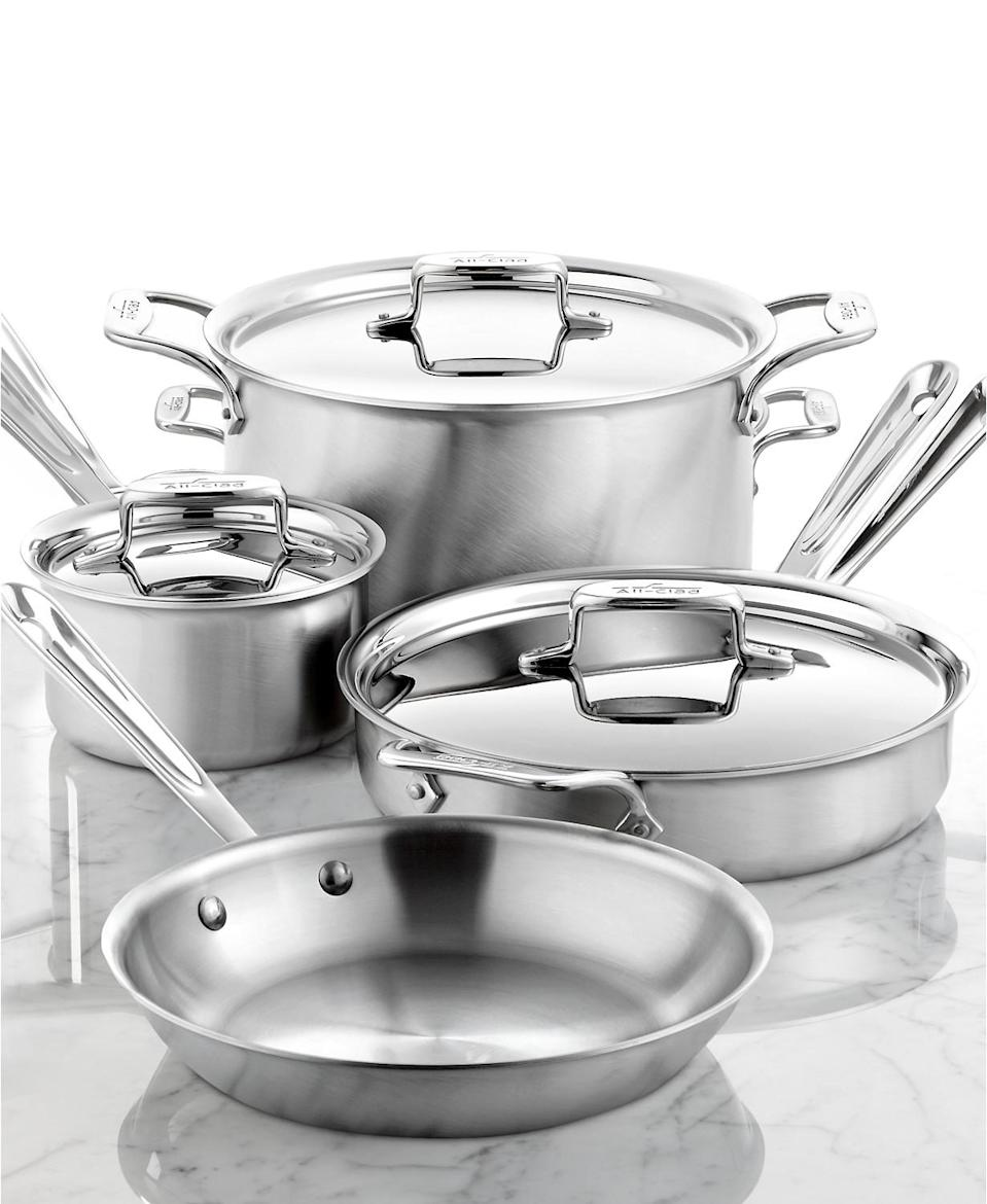 All-Clad D5 Brushed Stainless Steel 7-Piece Cookware Set. (Photo: Macy's)