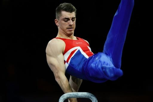 Great Britain's Max Whitlock on his way to gold in the men's pommel horse final at the world gymnastics championships in Stuttgart on Saturday