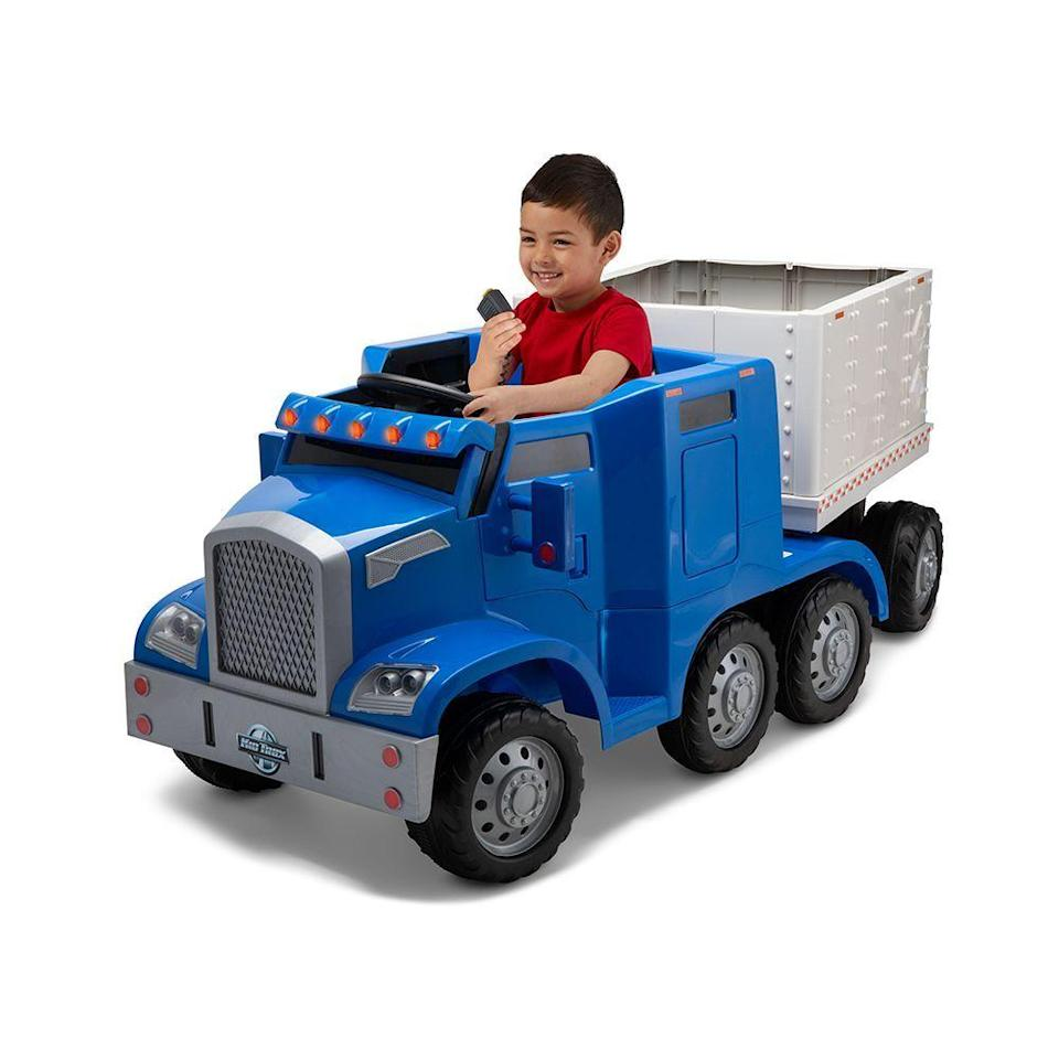 """<p><strong>Kid Trax</strong></p><p>walmart.com</p><p><strong>$249.00</strong></p><p><a href=""""https://go.redirectingat.com?id=74968X1596630&url=https%3A%2F%2Fwww.walmart.com%2Fip%2F235305547&sref=https%3A%2F%2Fwww.bestproducts.com%2Fparenting%2Fg34074265%2Fwalmart-top-toys-of-2020%2F"""" rel=""""nofollow noopener"""" target=""""_blank"""" data-ylk=""""slk:Shop Now"""" class=""""link rapid-noclick-resp"""">Shop Now</a></p><p>Kids are always excited to do the things that they see grown-ups doing, like washing the dishes, mowing the lawn, and driving. This semi-truck ride on will make your toddler feel like they are zooming through 5 p.m. traffic. </p><p>With the ability to drive in reverse up to 2 miles per hour and forward up to 4 miles per hour, your kiddo will be hauling their favorite toys to the local park and back again with the removable trailer. The added cab lights, PA system, and working horn give this semi-truck a fun realistic feel. </p>"""