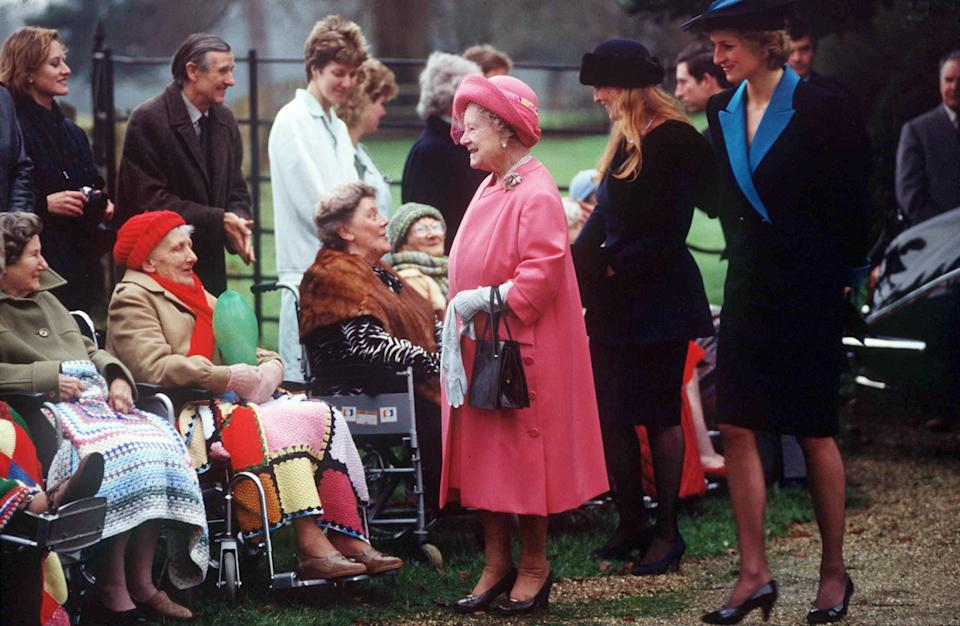 The royal ladies were pictured gretting members of the public with the Queen Mother. Photo: Getty Images