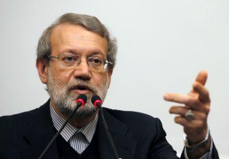 Iran's parliament speaker Larijani holds a news conference in Istanbul