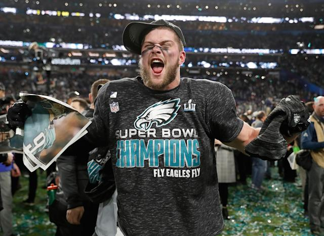 <p>Philadelphia Eagles' Nate Gerry celebrates after the NFL Super Bowl 52 football game against the New England Patriots Sunday, Feb. 4, 2018, in Minneapolis. The Eagles won 41-33. (AP Photo/Jeff Roberson) </p>