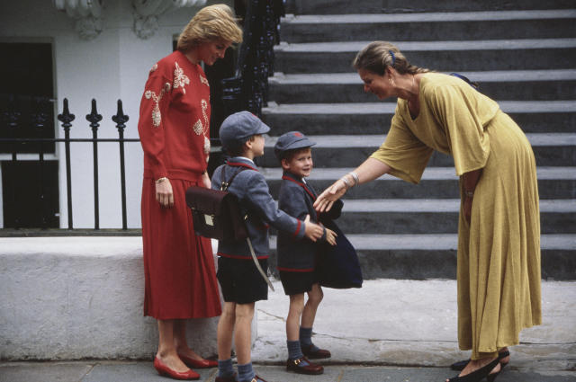 Diana with both princes on Harry's first day at Wetherby School in London, September 1989. (Getty Images)