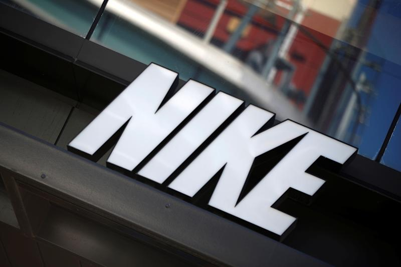 The logo of Dow Jones Industrial Average stock market index listed company Nike (NKE) is seen in Los Angeles, California, United States, April 12, 2016. REUTERS/Lucy Nicholson