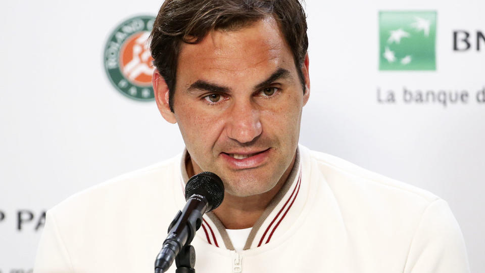 Roger Federer, pictured here speaking to the media at the French Open in 2019.