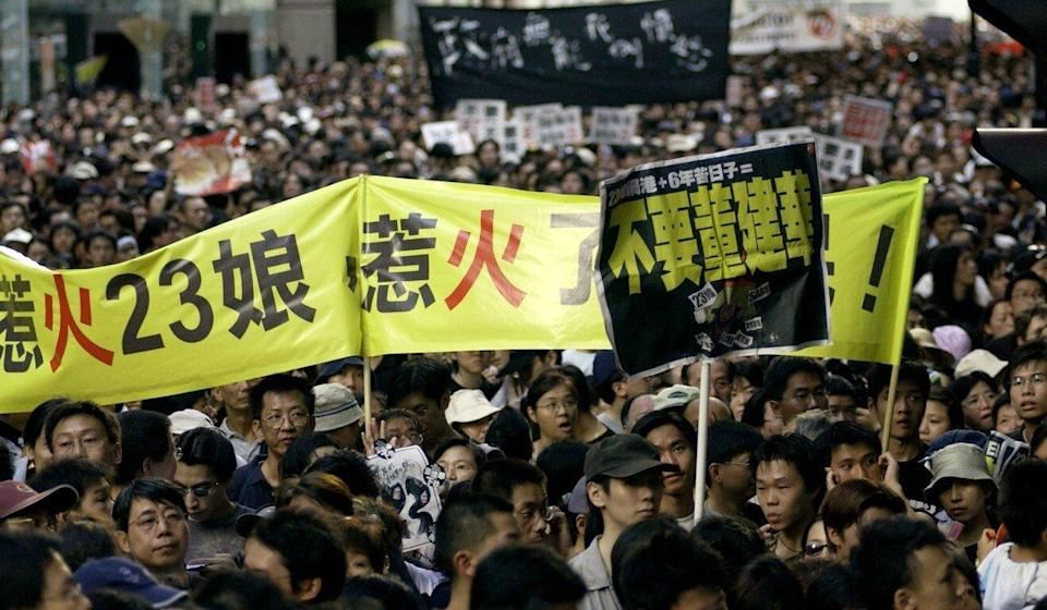 Hongkongers take to the streets in 2003 in opposition against the Article 23 bill. Photo: Jonathan Wong