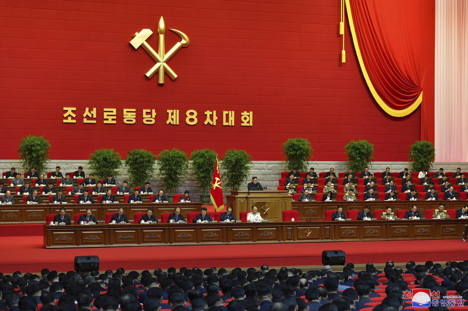 "In this photo provided by the North Korean government, North Korean leader Kim Jong Un, center, attends a ruling party congress in Pyongyang, North Korea Thursday, Jan. 7, 2021. Kim has reviewed relations with rival South Korea and underscored the need to drastically improve its ties with the outside world as he addressed a major political conference for the third consecutive day, state media reported Friday. Independent journalists were not given access to cover the event depicted in this image distributed by the North Korean government. The content of this image is as provided and cannot be independently verified. Korean language watermark on image as provided by source reads: ""KCNA"" which is the abbreviation for Korean Central News Agency. (Korean Central News Agency/Korea News Service via AP)"