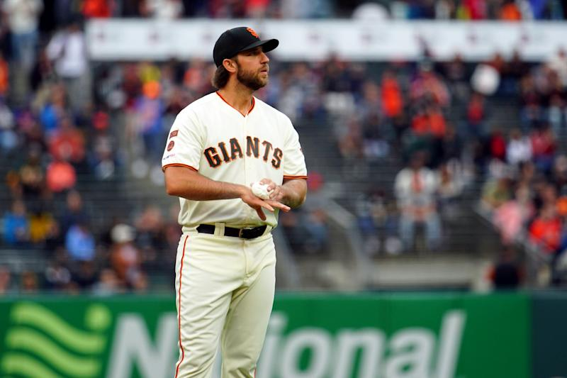 SAN FRANCISCO, CA - JULY 18: Madison Bumgarner #40 of the San Francisco Giants pitches against the New York Mets at Oracle Park on Thursday, July 18, 2019 in San Francisco, California. (Photo by Daniel Shirey/MLB Photos via Getty Images)