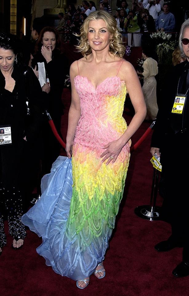 "Faith Hill, 2002. If you're a fan of rainbow sherbet or tropical snow cones, then you'd lick Hill's dress right up. To anyone who isn't a fan of tie-dyed pastels, the country singer's Versace mermaid dress was a curdled mess. The choice seemed fairly deliberate, considering that she sang ""Somewhere Over the Rainbow"" at the ceremonies."