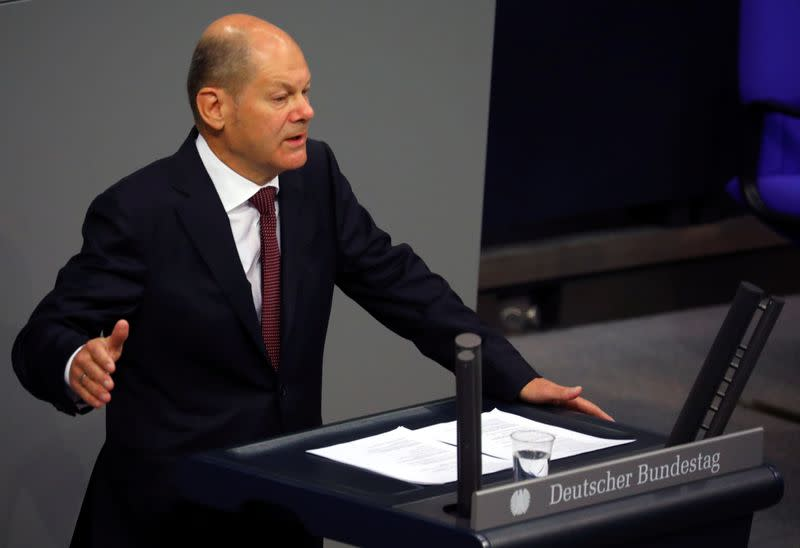 German Finance Minister Olaf Scholz attends a session of the Bundestag, in Berlin