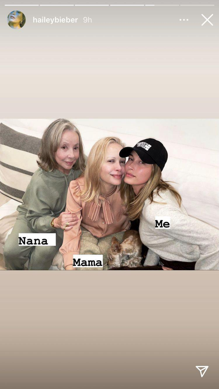 <p>Hailey Bieber has now confirmed that good things - and great skin - really does come in threes after sharing a 'twinning' photo on her Instagram of her alongside her mother and grandmother. </p><p>On Sunday January 24, the model took to Instagram to post a touching tribute to her sister Alaia Baldwin, before delving deeper into her photo albums and sharing a snap with the leading women in her life.</p><p>The 24-year-old looks the spitting image of 53-year-old Brazilian mother Kennya Baldwin and grandmother Mary Ellen Deodato ,who she dubbed as 'Nana' on the photo.</p>