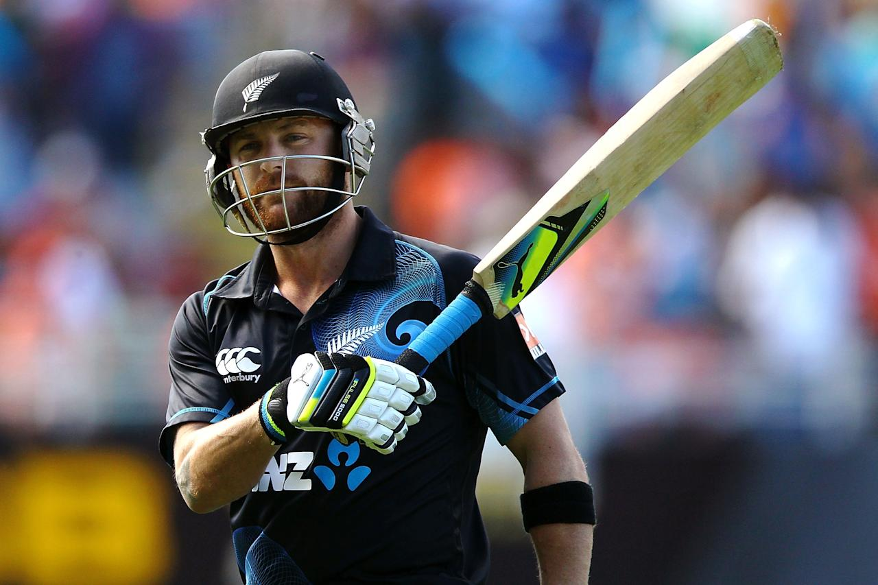 AUCKLAND, NEW ZEALAND - JANUARY 25: Brendon McCullum of New Zealand leaves the field after being dismissed by Ravichandran Ashwin of India during the One Day International match between New Zealand and India at Eden Park on January 25, 2014 in Auckland, New Zealand.  (Photo by Anthony Au-Yeung/Getty Images)