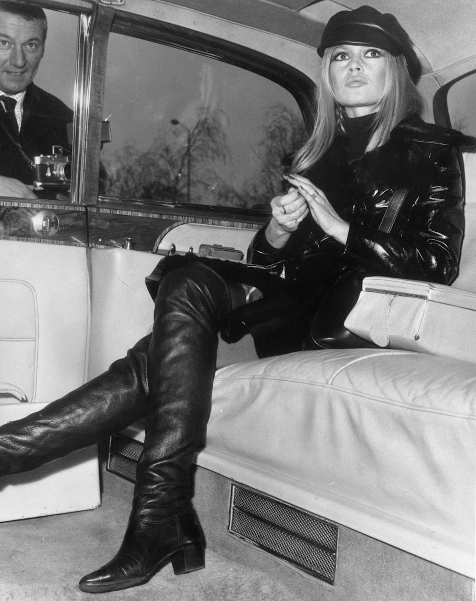 <p>French actress Brigitte Bardot channeled a full leather look in the most '60s way ever. Between the paperboy cap and slick jacket, the forever style muse balanced her micro-mini hem with tall knee-high boots, set atop a low stacked heel. To emulate the look, consider investing in a similar shoe to be paired with short skirts or dresses. A turtleneck and leather jacket à la Bardot guarantee you're covered up in all the right places.</p>