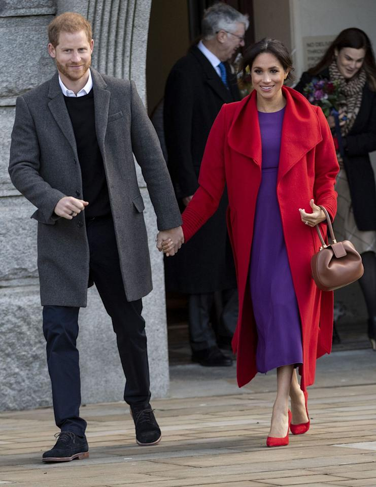 "<p>Meghan and Harry kept each other close for their first joint engagement in 2019. The royal couple greeted the crowd where they greeted the crowd and <a rel=""nofollow"" href=""https://www.townandcountrymag.com/society/tradition/a23776669/meghan-markle-due-date-2019/"">Meghan hinted about her due date.</a> </p>"