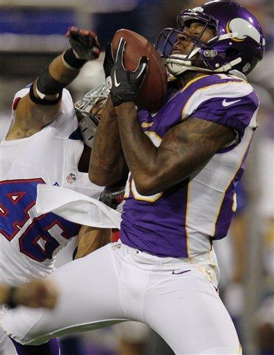 Minnesota Vikings wide receiver Emmanuel Arceneaux (16), right, makes a catch against Buffalo Bills defensive back Isaiah Green (46) in the second half of an NFL preseason football game, Friday, Aug. 17, 2012, in Minneapolis. The Vikings won 36-14. (AP Photo/Genevieve Ross)