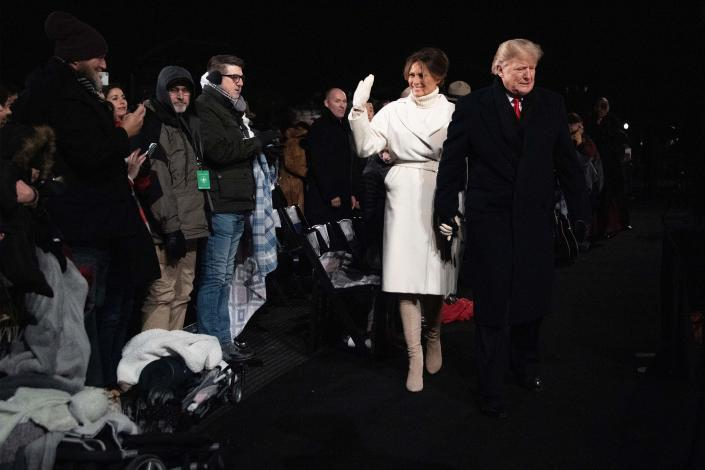 President Trump and first lady Melania Trump at the lighting of the National Christmas Tree in Washington on Wednesday. (Photo: Jim Watson/AFP/Getty Images)