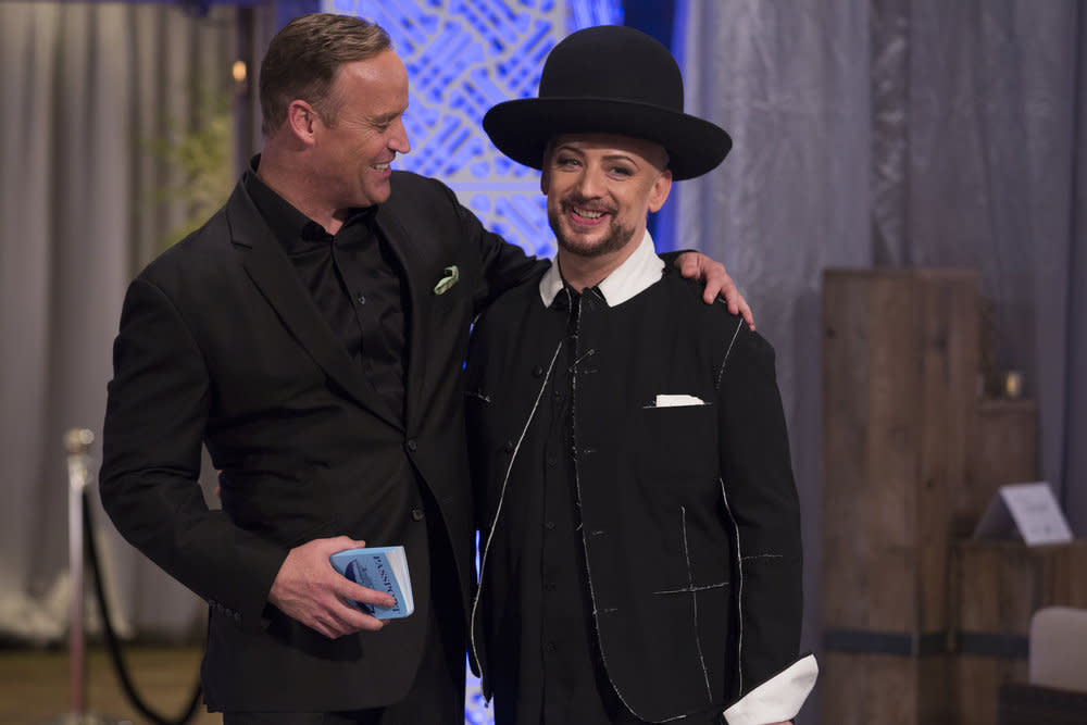 <p>Matt Iseman, Boy George (Photo by: Luis Trinh/NBC) </p>
