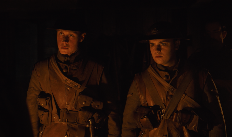 George MacKay and Dean-Charles Chapman as Schofield and Blake. (eOne)