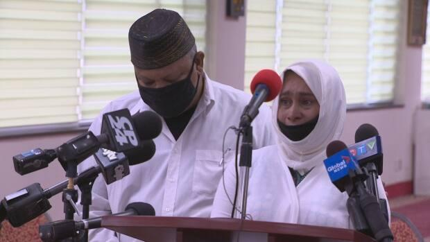 Bebi Zafis, right, daughter of Mohamed-Aslim Zafis, speaks to reporters about his death one year ago on Sunday. A food drive has been launched in his memory. (CBC - image credit)
