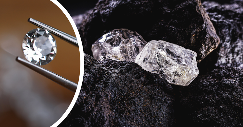 Rough diamonds on a black background and a pair of tweezers holding a prepared diamond.