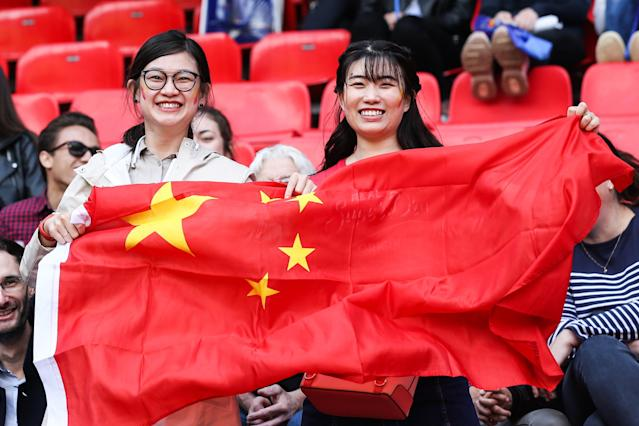 Fans of China cheer during the 2019 FIFA Women's World Cup France group B match between Germany and China PR at Roazhon Park on June 08, 2019 in Rennes, France. (Photo by Zhizhao Wu/Getty Images)