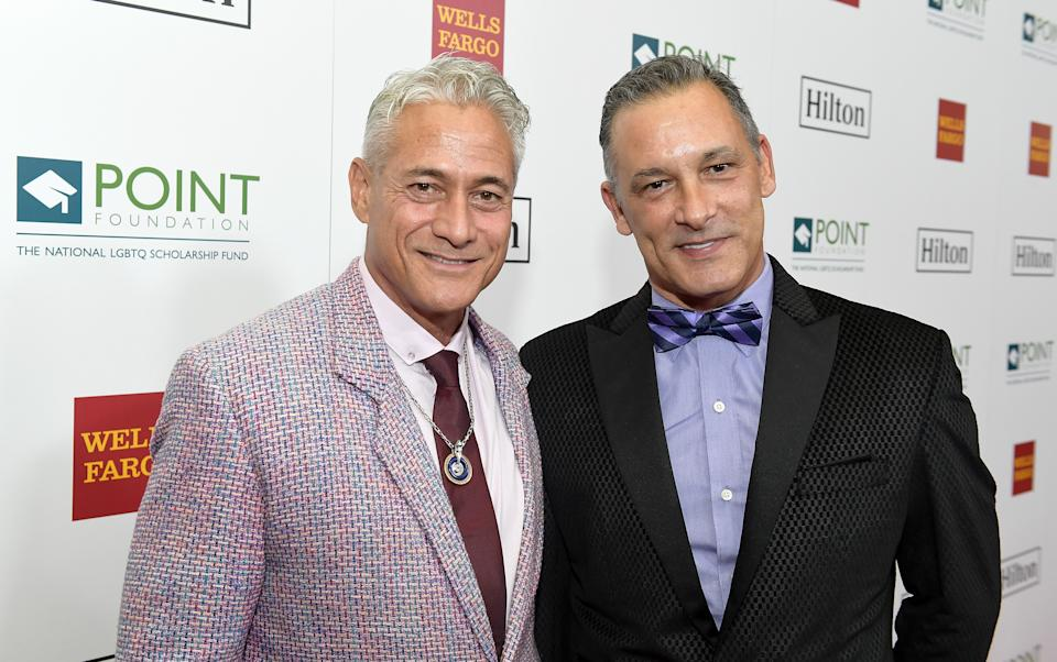 BEVERLY HILLS, CA - OCTOBER 07:  Greg Louganis (L) and Johnny Chaillot at Point Honors Los Angeles 2017, benefiting Point Foundation, at The Beverly Hilton Hotel on October 7, 2017 in Beverly Hills, California.  (Photo by Matt Winkelmeyer/Getty Images for Point Honors)